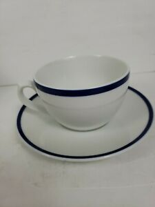 Williams Sonoma Brasserie Breakfast Cups large Mugs With Saucer Blue rim Japan