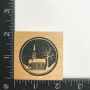 PSX Designs Christmas Winter Snow Church Wood Mounted Rubber Stamp E069