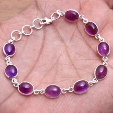 "Purple Amethyst Gemstone 925 sterling Silver Jewelry Designer Bracelet 7"""