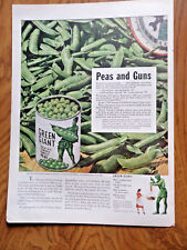 1943 Jolly Green Giant Ad Peas and Guns