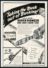 1951 IEL Super Pioneer chain saw chainsaw & Super Twin vintage trade print ad