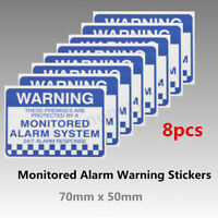 Pack of 8 Monitored Alarm System Warning Security Stickers Waterproof Sign