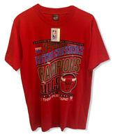 Vtg 93' Chicago Bulls Men's Sz L Eastern Conference Champions 3-Peat T-Shirt NWT