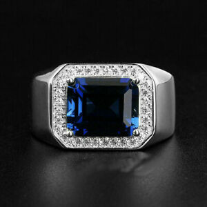 Engagement & Wedding Attractive Halo Men's Ring 14K White Gold 2.81 Ct Sapphire