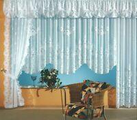 Gardine Serie Blumen Store Seitenschal Querbehang Vorhang weiß chic gebogt Typ1