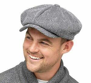 Mens Bakerboy Flat Cap Buttoned Herringbone Peaky Blinders Peaked Newsboy Hat