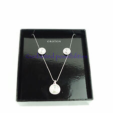 OROTON Silver Pave Necklace & Earring Gift Box Set