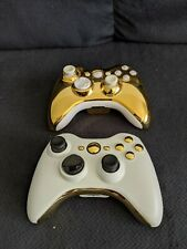 Custom Xbox 360 Wireless Controllers - Gold/White Opposites. Condition is Used.