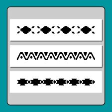 Set of 3 Southwestern Border Craft Stencils 3 X 12 Tribal/Old/Wild West/Country