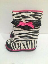 Toddler girls size 5 zebra & pink winter dress boots shiny dressy