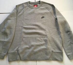 New Men's Nike Tech Fleece Crew Sweatshirt Sz XL 545163 064 $95 Gray