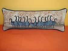 "NEW P BUCKLEY MOSS GEESE TAPESTRY FABRIC BOLSTER PILLOW Complete 9"" x 24"" black"