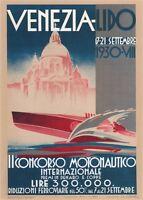 VENEZIA LIDO, 1930 Vintage Italian Boat Racing Reproduction CANVAS PRINT 24x32in