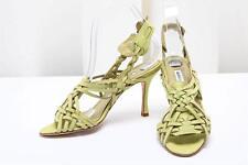 MANOLO BLAHNIK Lime Green Leather Huarache High Heel Shoe 6.5-36.5 NEW