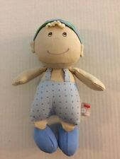 Haba Pure Nature Germany Boy Blonde Plush Fabric Cloth Doll Blue Overalls Hat