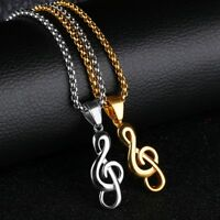 Mens Women Stainless Steel Music Note Pendant Gold Silver Necklace Rolo Chain