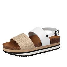 scarpe donna 5 PRO JECT 38 EU sandali bianco beige pelle tessuto AC595-C