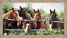 Digital Panel Pleasant Pastures Horses By Fence Northcott Cotton Fabric