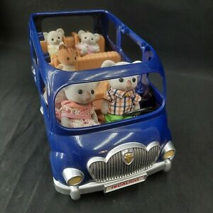 Calico Critters Blue Van w/ 5 Koala Family Baby Cat Seven Seater with Car Seats