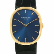 Patek Philippe 18KT Gold Ellipse c.1975 Blue Dial all orig w Long alligator 1...