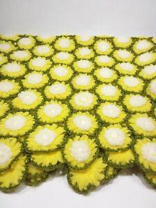 """Crocheted Handmade Daisy Throw Blanket 45"""" x 38"""" 243 daisies"""