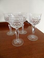 4 X ANTIQUE VINTAGE AMERICAN BRILLIANT CUT CRYSTAL HOCK GLASSES FACETED STEM