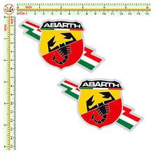 sticker italian flag abarth adesivi auto moto casco Fiat 500  pvc  2 pz.