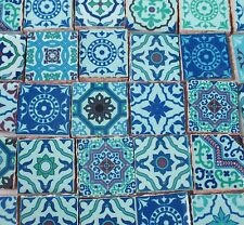 Ceramic Mosaic Tiles - Blue Green Medallions Moroccan Tile Mosaic Tile Pieces