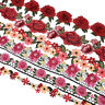 1 Yard Rose Flower 3D Embroidered Flowers Lace Fabric Trim Sewing Accessories