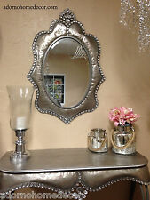Metal Wall Silver Oval Crystal Jewel Mirror Rustic Modern Chic Unique Accent
