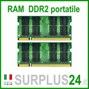 KIT RAM 4GB (2x2GB) DDR2 LAPTOP PC2-6400S 800Mhz SODIMM Notebook Portatile NoEcc