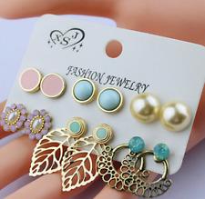 Earrings Set Women Ear Stud Jewelry 6 Pairs Fashion Rhinestone Gemstone Hollow