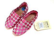 Toms Classic Shoes Pink Polka Dot Silver Fur Lined Toddler Girls Size 10 NWT!