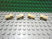 Lego 4 Tan technic axle and pin connector grooved #1 NEW