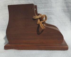 Antique Old Vintage Handmade Wooden Shoe Coin Bank