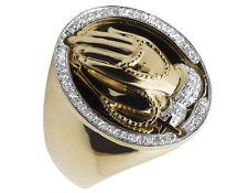 Men's 10K Yellow Gold Praying Hands Genuine Diamond Pinky Ring 0.35 CT