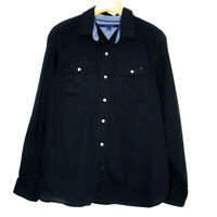 Tommy Hilfiger Womens Button Up Black Shirt Size Medium