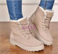 Women Fur Lined Warm Snow Ankle Boot High Top Winter Platform Shoes All UK Sz