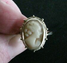 Antique Sterling Silver Cameo Shell Ring US size 8 UK P&1/2 Tested as Silver