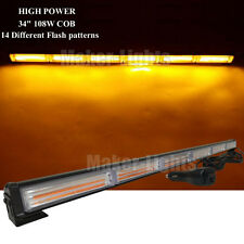 "34"" COB LED Amber Traffic Advisor Beacon Emergency Flash Strobe Light Bar 12/24V"