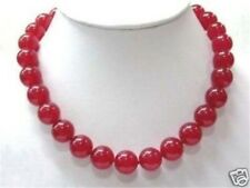 "fashion Red 10mm Ruby Round Beads Gemstone Necklace 18"" JN172"