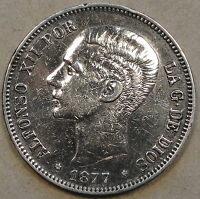 Spain 1877(77) Five Pesetas Polished Better Circulated Grade as Pictured