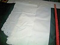 (2)TWO Vtg(1)Embroidered Linen  White TableTopper w/Cutouts &(1) Dresser/Scarf