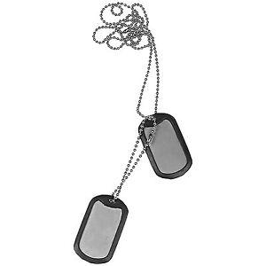 Military Style US Army GI Dog Tags Free DogTag Silencers fancy dress ID Pair Set