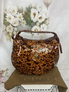 Gucci Leopard Tortoise Shell Patent Leather Medium Hysteria Bag New MSRP$3400