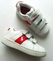Polo Ralph Lauren Boys Leather Sneakers Shoes Racquet EZ White Red Size 7.5 NEW
