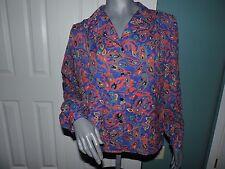 Womens Vintage Lady Manhattan Paisley Polyester Top Shirt Blouse Size 12 EUC