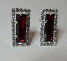 BEAUTIFUL ART DECO STYLE RED & CLEAR CRYSTAL CLIP EARRINGS SILVER PLATED