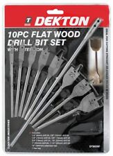 """10pc Flat Wood Drill Bit Set 6-32mm 12"""" Extension Bar Shank Hex Key Drilling"""