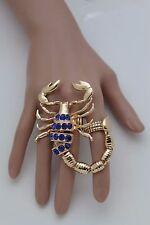 Women Gold Slave Ring Metal Fashion Scorpion Elastic Band One Size Blue Beads
